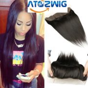 "ATOZWIG 7A Malaysian Virgin Hair Straight Lace Frontal Closure 13""x4"" Lace Frontal Closure Soft Malaysian Straight Closure 16 inch"