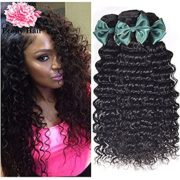 "Peony Hair 7A Grade Brazilian Deep Wave 3 Bundles with Closure Uprocessed Virgin hair with 4""4"" lace closure free part"