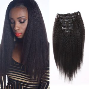 OrderWigsOnline Human Hair Kinky Straight Clip In Hair Extensions 100% Virgin Remy Human Hair 7 pieces 100gram/3.6oz Grade 7A for Thin Hair Natural Black for Black Women 14 Inch