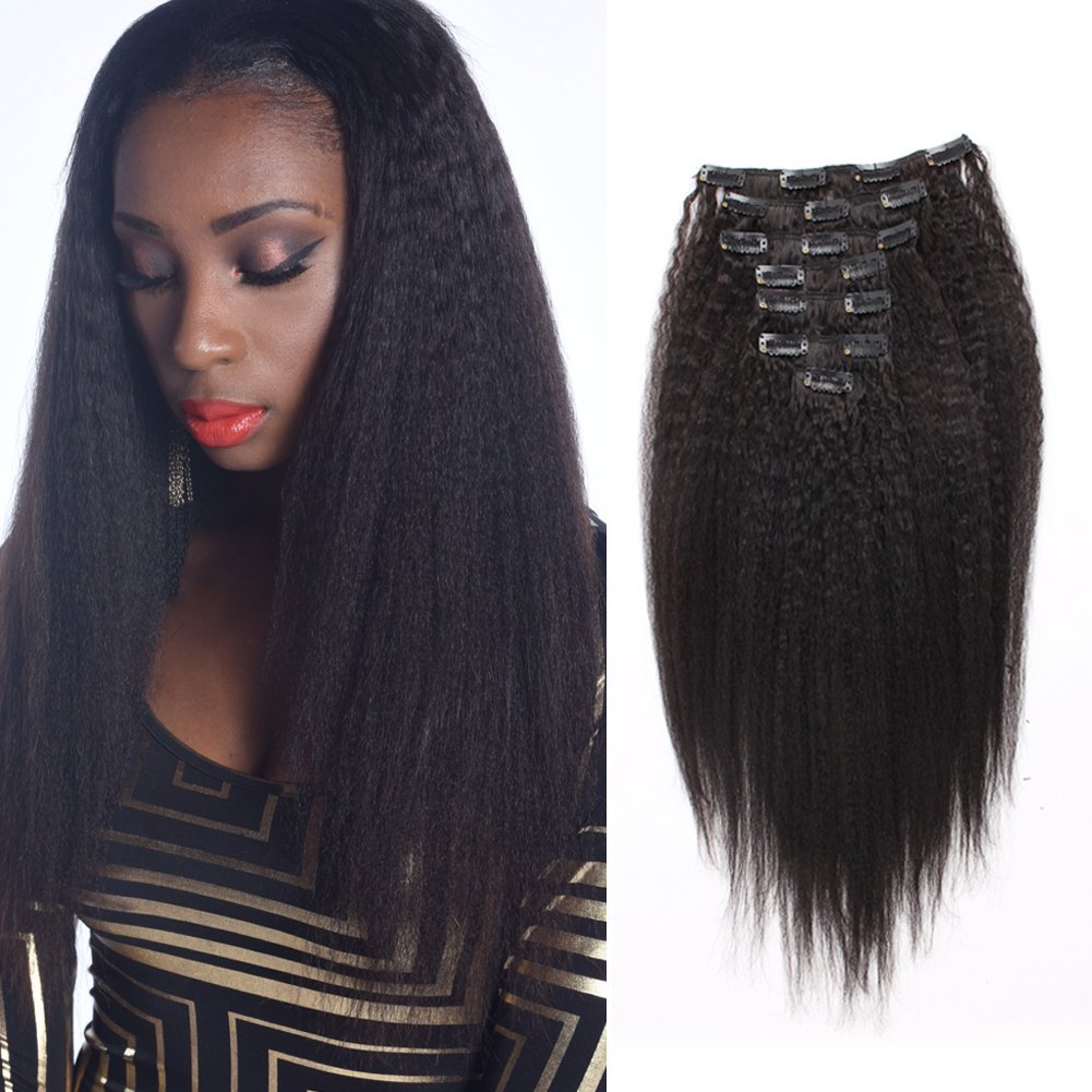 Orderwigsonline Human Hair Kinky Straight Clip In Hair Extensions