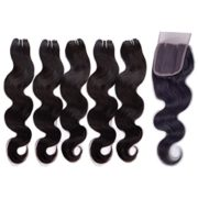 JINREN (TM) Brazilian Virgin Hair with Closure Unprocessed Brazilian Body Wave Human Hair Weave 5 Bundles with Lace Closure 4x4 Lace Top Closure