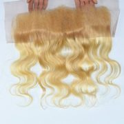 Moresoo 100% Unprocessed Body Wave Bleach Blonde(#613) Virgin Remy Human Hair Ear to Ear Lace Frontal Closure