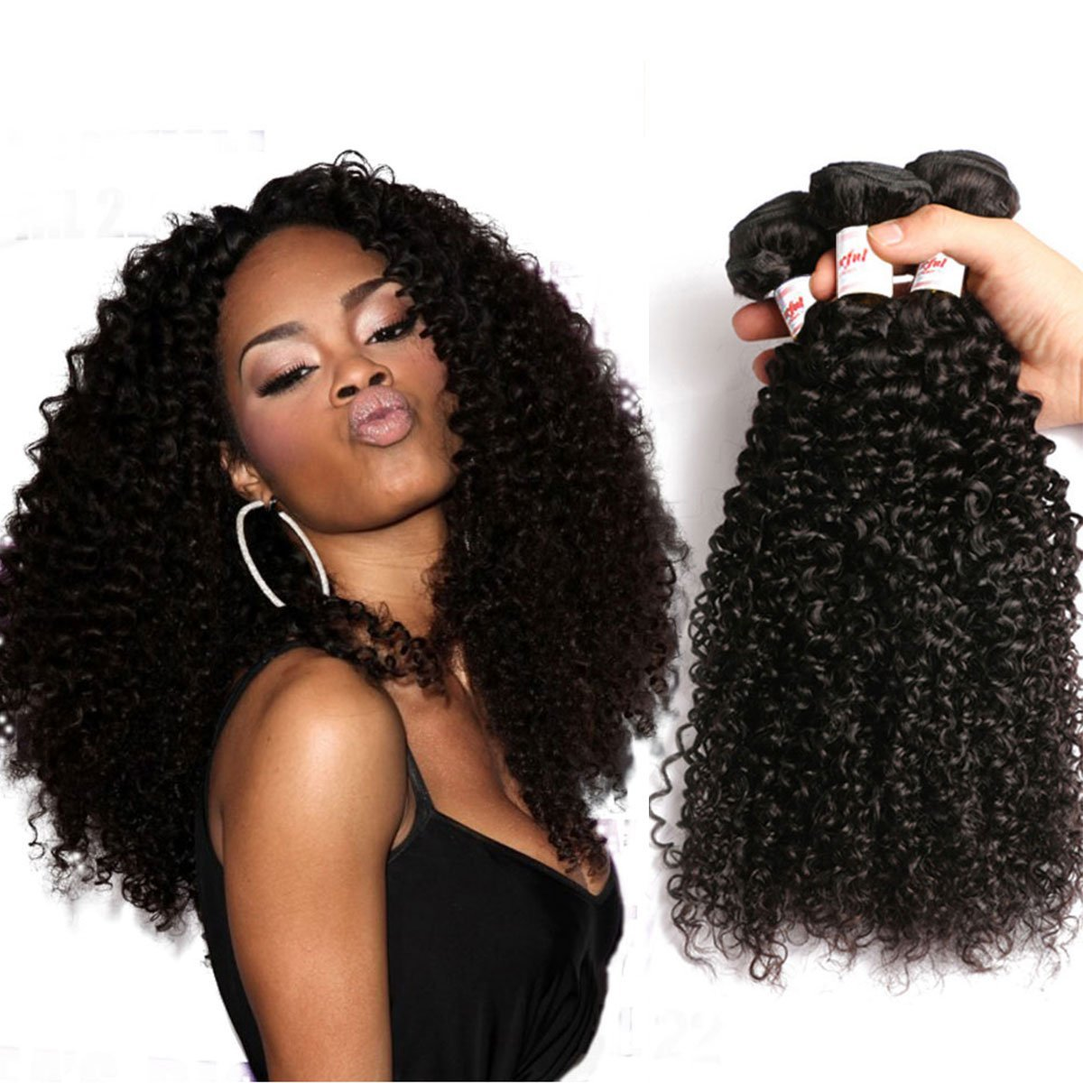 Tuneful 14 16 18inches Brazilian Curly Virgin Hair 3 Bundles Kinky Curly Virgin Hair Weave 100% Unprocessed Brazilian Remy Human Hair Extensions Natural Black Color
