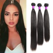 "FeiBin® 16"" 18"" 20"" Inch 3 Bundles Brazilian Virgin Hair Straight 100% Unprocessed Human Hair Natual Black Color 300g Total"