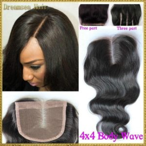 Obzer USA 7A Brazilian Virgin Hair Front Frontal Lace Closure Human remy Hair Extensions Body Wave Weave Free Part (12inch)