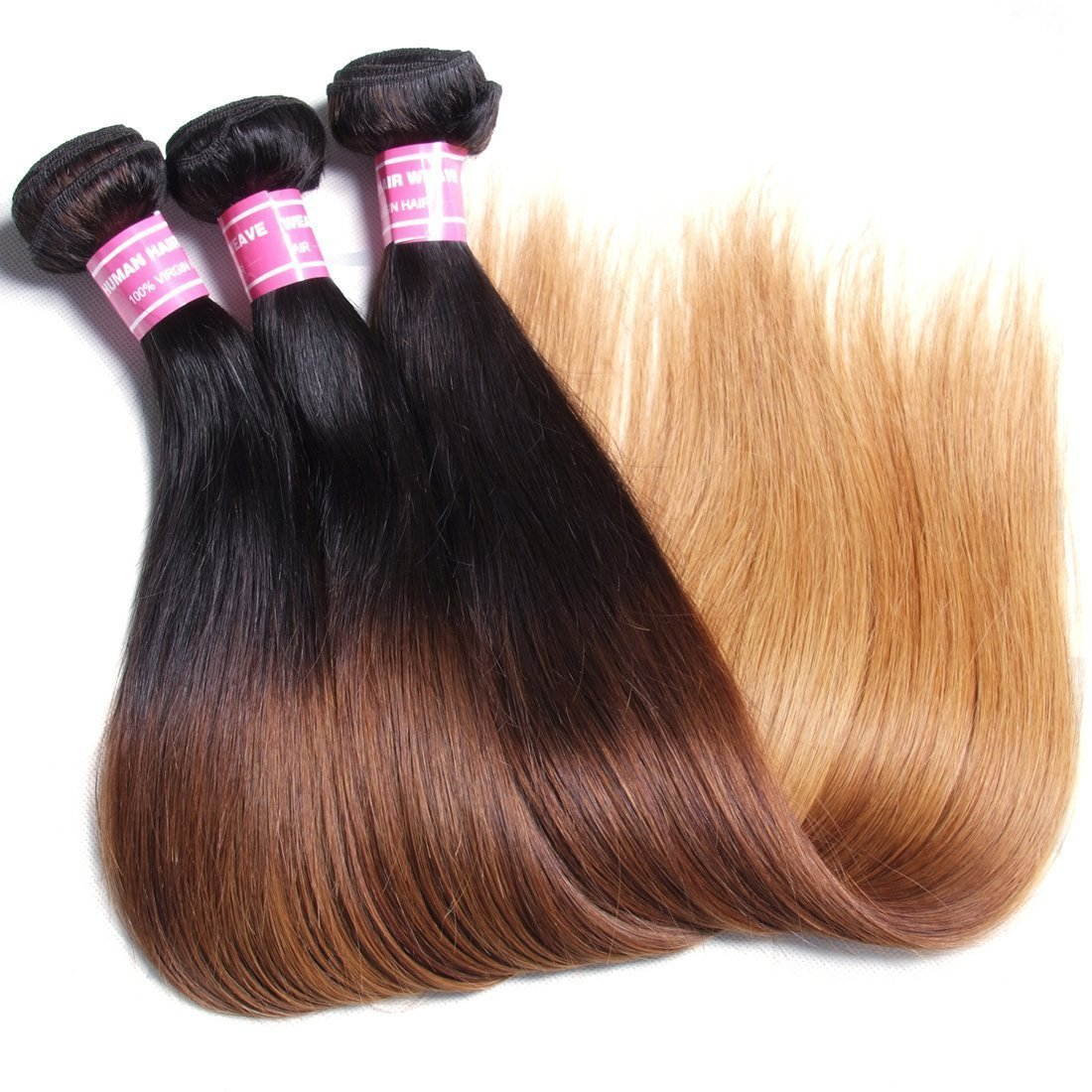 Beauty Forever Hair Malaysian Ombre Straight Virgin Hair 3 Bundles Grade 6A 100% Virgin Human Hair Weave Extensions 3 Tone #1b/4/27 Color (16 18 20)