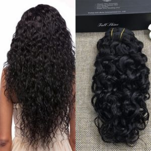 "Full Shine 24"" 7Pcs/Set Double Weft Clip in African American Hair Extensions Wavy Clip in Hair Extensions Human Hair Clip in Hair Extensions for Black Women Short Hair"