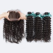 Ruma Hair 8A Pre Plucked Deep Curly 360 Lace Frontal With Bundles Unprocessed Malaysian Virgin Human Hair Deep Wave 3Pcs With Lace Band Frontal Closure 4Pcs Lot (20 with 22 24 26)