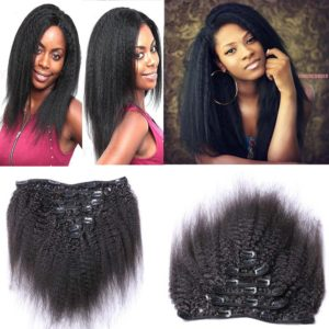 Youth Beauty 8A Grade Mongolian Afro Kinky Curly Clip Ins Hair Extension Vigin Human Hair weaving Kinky Straight Curly 7pcs/lot,110gram/set Natural Black For American Black Women 14""