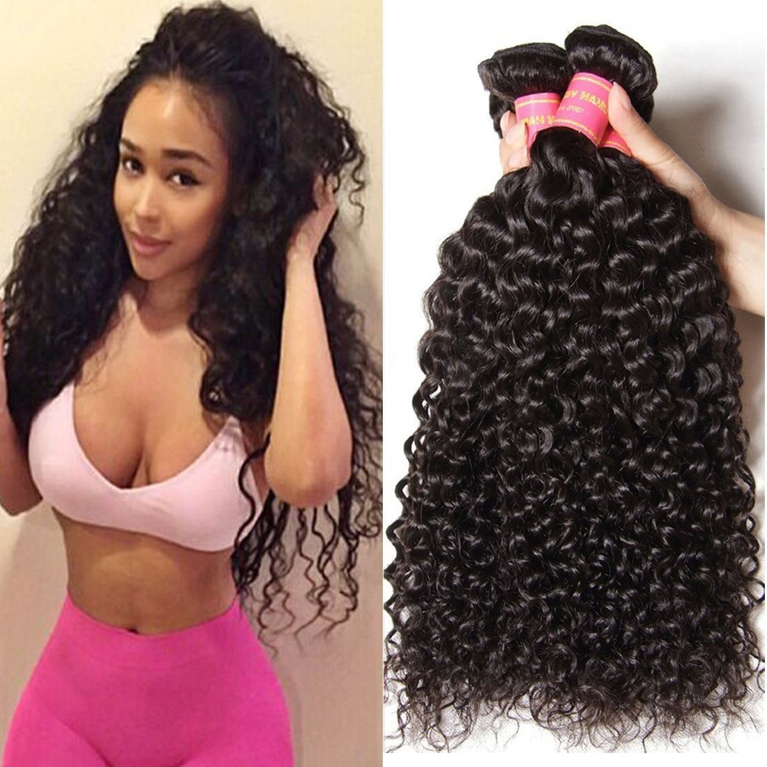 Beauty Forever Hair Brazilian Curly Virgin Hair Weave Pack of 3 Bundles 100% Unprocessed Human Hair Extensions Nature Color (100+/-5g)/pc (18 20 22)