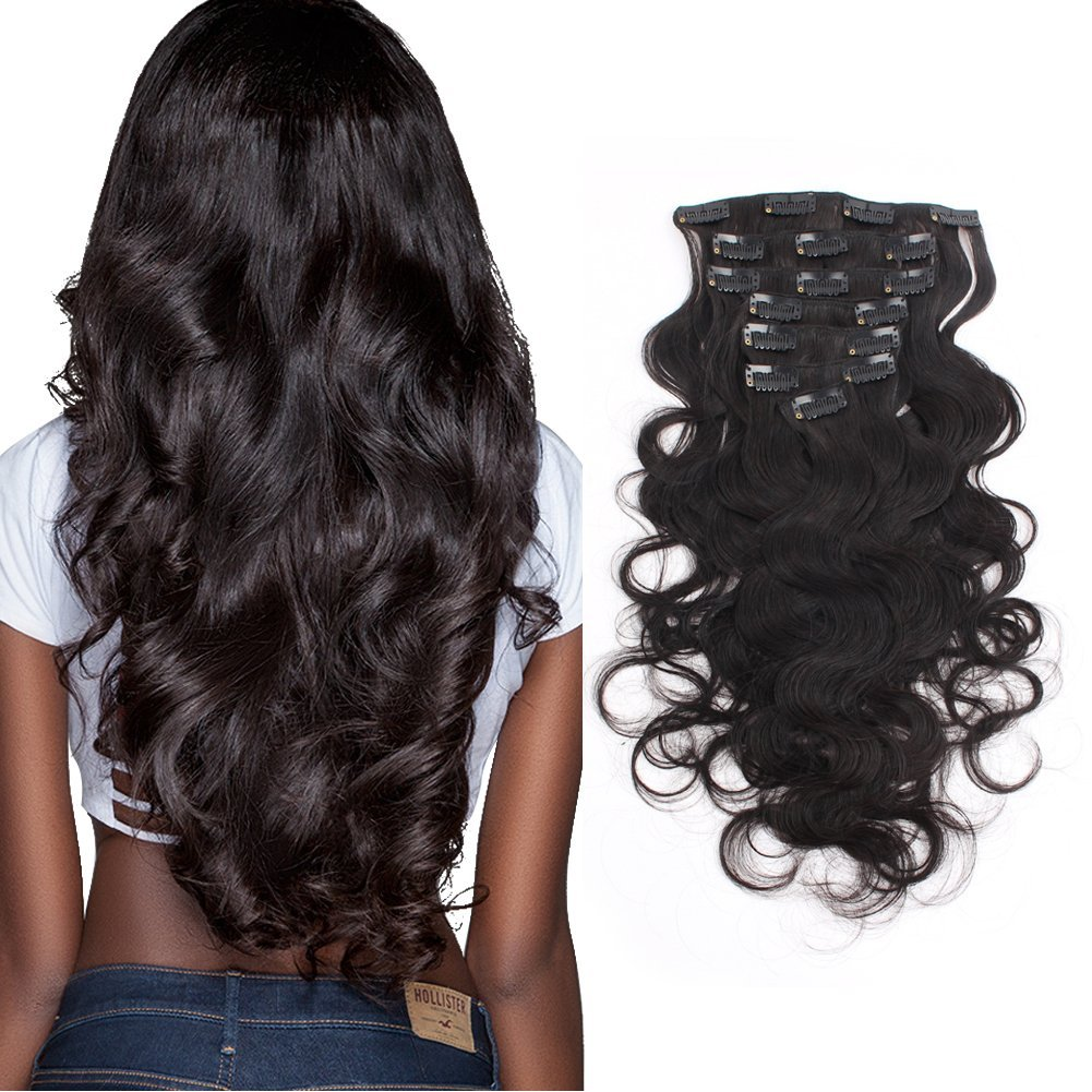 AmazingBeauty Clip In Extensions 8A Grade 100% Human Virgin Hair 16-22inch 7 Pieces with 18 Clips per Set 18inch Body Wave Fit For African American Women One Head