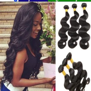 "eCowboy BODY WAVE 3 Bundle Hair DEAL Virgin Hair Unprocessed Human Hair Dyable Natural Black 1B Color -14""16""18"""