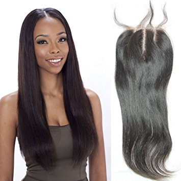 Sunday Hair Brazilian Virgin Human Hair Swiss Lace Top Closure 16inch, Bleached Knots Edge Finished Lace Closure 3Part Closure