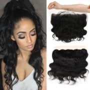 """Queen Plus Hair 7A Brazilian Virgin Hair,Full Head Lace Frontal Closure (13×4) with 3 Bundles ,Body Weave Natural Color Weft, Be Aware of Fake from Any Other Seller (14""""16""""18""""Wefts +12""""Frontal)"""