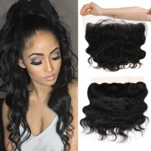 "Queen Plus Hair 7A Brazilian Virgin Hair,Full Head Lace Frontal Closure (13×4) with 3 Bundles ,Body Weave Natural Color Weft, Be Aware of Fake from Any Other Seller (14""16""18""Wefts +12""Frontal)"