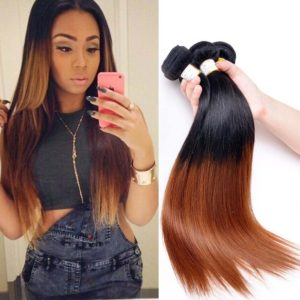 8A Remy Peruvian hair 3 bundles straight two tone T1b 30 ombre Human Hair Peruvian straight hair 3 bundles 12 14 16 Inches 100g/bundle total 300g 8A virgin Hair bundle deals