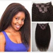 Moresoo 16 inch 100g 6A Dark Brown #2 Afro Kinky Straight Full Head Human Hair Clip in Hair Extensions for Black Women 100% Brazilian Virgin Remy Human Hair