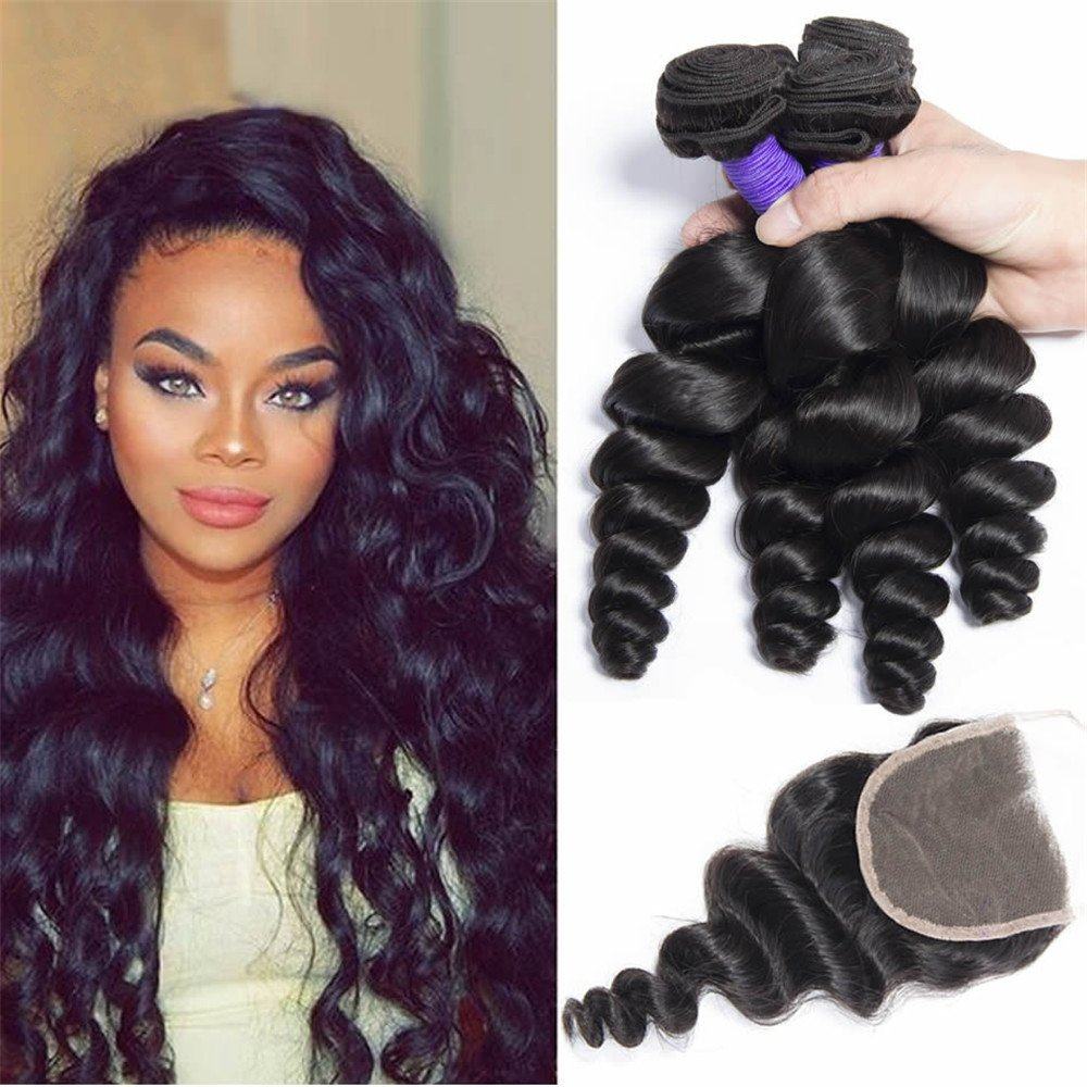Etino Brazilian Virgin Hair with Closure Unprocessed Brazilian Loose Wave Human Hair Weave 4 Bundles