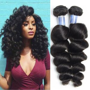 Vipbeauty 7A Grade Brazilian Loose Wave Hair 3 Bundles 100% Unprocessed Human Hair Natural Black 95-105g/pc(10 12 14)