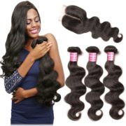 B&F Hair 3 Bundles Brazilian Virgin Hair Body Wave with 1 Piece 44 Middle Part Lace Closure 100% Unprocessed Human Hair Weave Extensions Nature Color (12 14 16 +10closure)