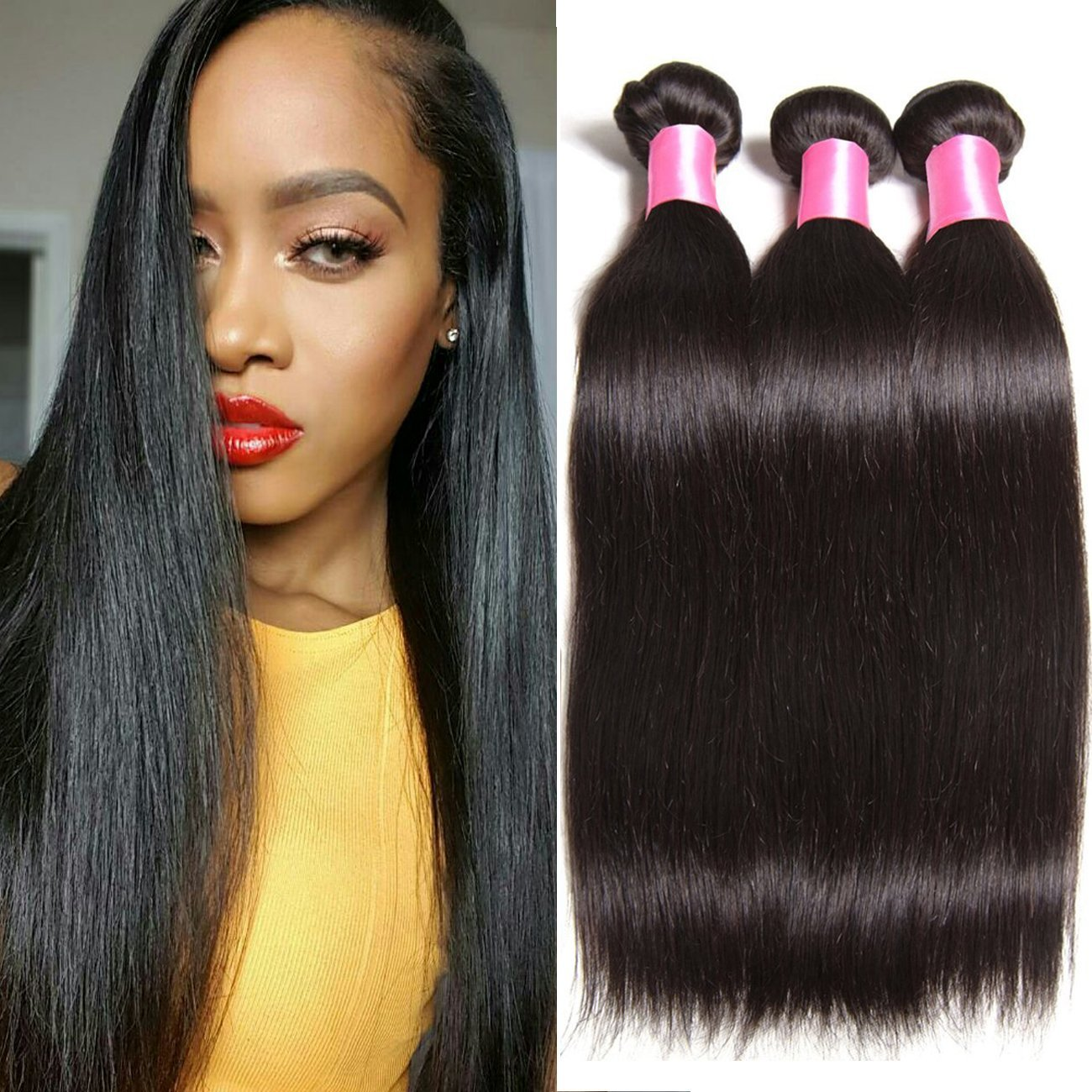 B&F Hair 6a Brazilian Virgin Straight Hair Weave 4bundles 100% Unprocessed Human Hair Extensions Natural Color Can Be Dyed and Bleached (14 16 18 20)