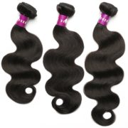 HEBE Brazilian Hair Weave 3 Bundles Deal 14 16 18 Inches Unprocessed Brazilian Body Wave 7A Virgin Human Hair Extension Natural Black Color