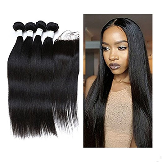 "JieFar Hair Peruvian Virgin Hair Straight Wave 4pcs/lots Hair With Free Part Closure Products 100% Peruvian Human Hair Extensions Bundles Deals Natural Color (8""10""12""14""+8"")"
