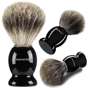 Perfecto 100% Pure Badger Shaving Brush-Black Handle- Engineered for the Best Shave of Your Life