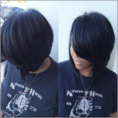 cute sew ins with bangs - by @thehairicon
