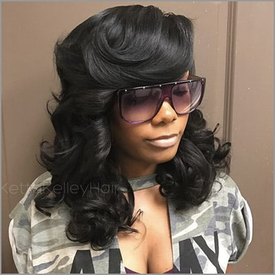 cute sew ins with bangs - by @wigsbykettakelley