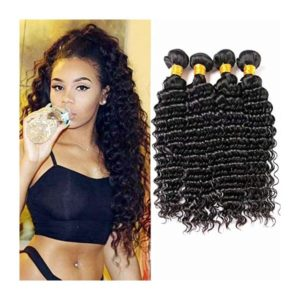 "ShowJarlly Indian Deep Wave 4 Bundles 24"" 26"" 28"" 30"" 8A Grade Unprocessed Raw Virgin Indian Human Hair Bundles"
