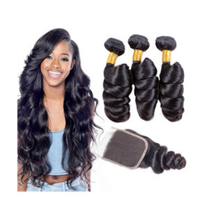 ALIBALLY Brazilian Virgin Hair Loose Wave With Closure Free Part 3 Bundles Human Hair Loose wave With Closure Raw Brazilian Loose Wave With Closure (18 20 22+18)