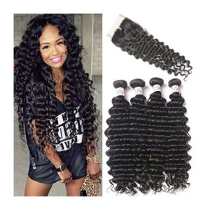Brazilian Deep Wave Virgin Hair 4 Bundles with Free Part Closure (28 28 28 28 with 20) 100% Unprocessed Brazilian Deep Curly Remy Human Hair Weaves and Lace Closure