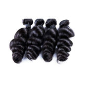"Brazilian Virgin Hair Human Hair 6A 4pcs 30"" Loose Wave Weave Hair Extension 8-30 Inch Naturl Black Unprocessed Soft Hair Bundles"