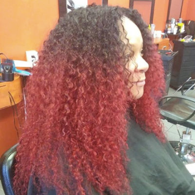 Curly Weave Hairstyle Red