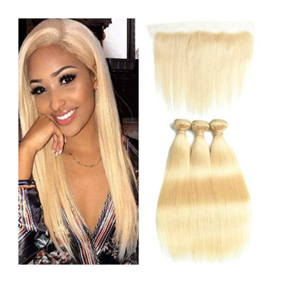 DACHIC 613 Blonde Human Hair Bundles with Frontal 7A Brazilian Straight Hair 3 Bundles with Frontal Closure 100% Virgin Human Hair Weave with 13x4 Lace Frontal (24 24 26+20)