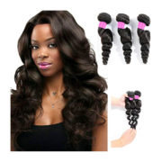 DFX Hair (TM) 8~30 inches Brazilian Virgin Human Hair Extension Loose Wave, Pack of Three, 100g/Bundle, 6A Natural Color Weft (18 20 22)
