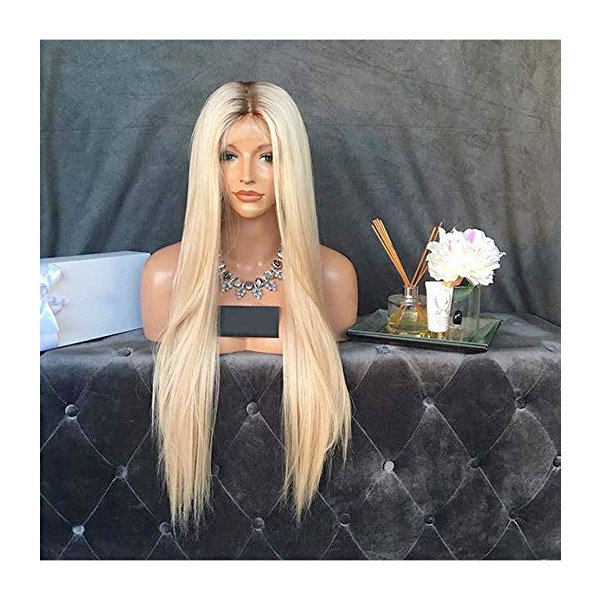 Kerrywigs Ombre Blonde Brazilian Virgin Hair Full Lace Wigs For White Women Silky Straight Glueless #4/#613 Lace Front Human Hair Wigs Baby Hair For African Americans (30inch 180%, Full Lace Wig)