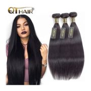 QTHAIR 10A Virgin Brazilian Straight Human Hair Weave 3 Bundles 300g 8 10 12 inch 100% Unprocessed Brazilian Straight Virgin Hair Weave Human Hair Extensions Natural Black Color, Can be Dyed