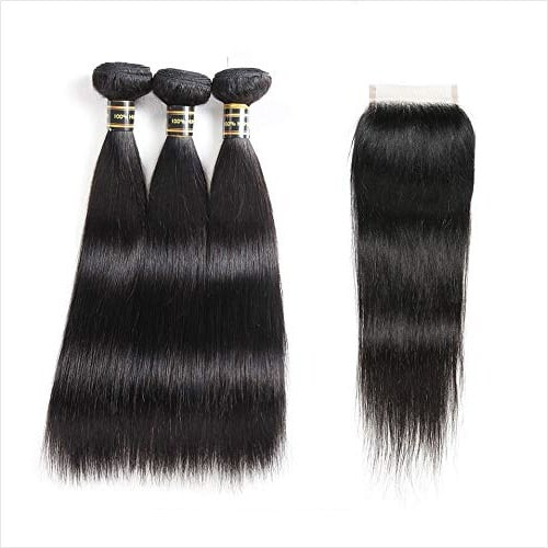Aodai Brazilian Virgin Hair Straight with Closure 4x4 Free Part Brazilian Straight Human Hair Bundles with Closure
