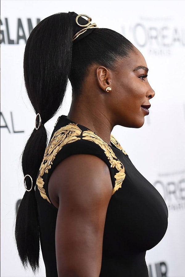 Slick Back Ponytail with Weave - Serena Williams