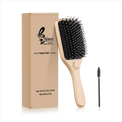 Honey Hair Brush-[Upgraded] Natural Boar Bristle Hairbrush for Women Men Long Thick Fine Curly Wavy Dry Wet All Hair Types